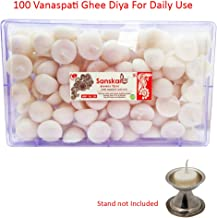 R Wellness Ghee Diya batti for Pooja - (12 cm x 10 cm x 10 cm, Set of 100, White)