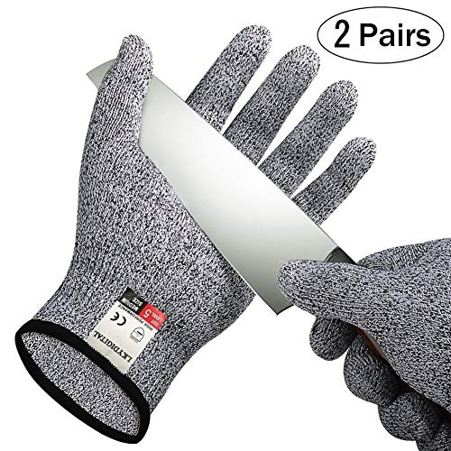 2 Pairs Cut Resistant Gloves, LKY DIGITAL High Performance Level 5 Protection, Food Grade Kitchen Glove for Hand Safety while Cutting, Cooking, doing Yard Work(Medium)