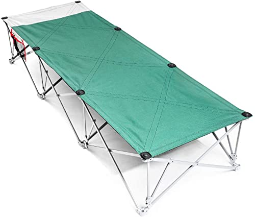 RNGNBKLS Lit de Camping Pliable avec Chaise Longue Portable en Tissu 600 D Capacité de Poids Stable jusqu'à 200 kg pour Le Camping, Les Voyages et la Maison Poche latérale avec Sac de Transport Vert