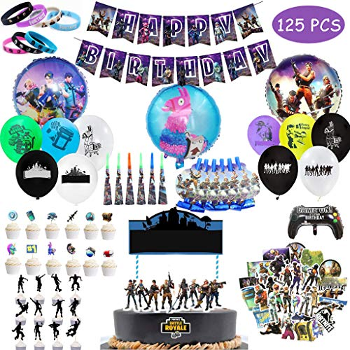 Funmo Geburtstagsfeier Party Zubehör für Spielliebhaber, 123 Stück Spiel Partyzubehör Set Videospiel Party Zubehör inkl. Armbänder, Ballon, Aufkleber (Ohne Kuchen)
