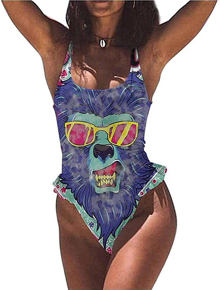 Classic Swimsuit Lion, Polygonal Geometric Design, Trendy, Sexy