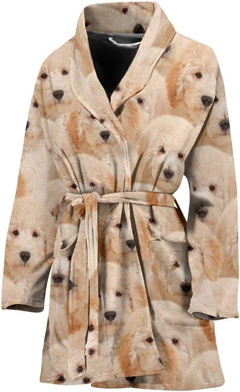Deruj goldendoodle in Lots Print Women's Bath Robe