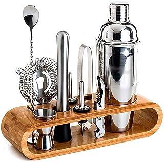 Cocktail Shaker Set Barmender Kit, 9-delige cocktail shaker set voor gemengd drankje, voor thuis, bars, reizen en buitenfe...