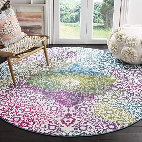 Safavieh Watercolor Collection WTC672F Boho Chic Medallion Non-Shedding Dining Room Entryway Foyer Living Room Bedroom Area Rug, 5'3' x 5'3' Round, Ivory / Fuchsia