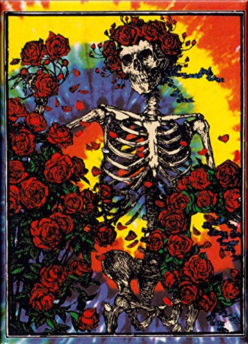 Square Deal Recordings & Supplies Grateful Dead - Skeleton and Roses on Tie Dye - Refrigerator Magnet