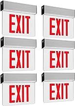 LEONLITE LED Edge Lit Red Exit Sign Single Face with Battery Backup, UL Listed, AC120V/277V, Ceiling/Left End/Back Mount Emergency Light for Hotel, Restaurant, Hospitals, Pack of 6