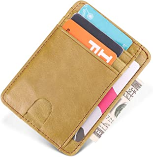 ANBENEED Genuine Leather Slim RFID Blocking Credit Card Holder Case Wallets For Women Ladies.