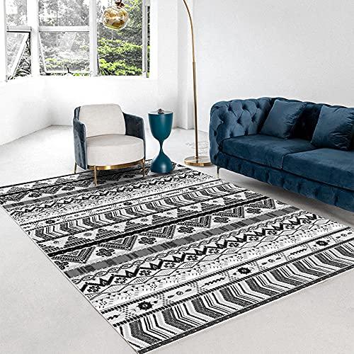 Serie En Blanco Y Negro De Alfombras Rectangulares Irregularidades Geométricas Alfombrillas Impermeables Y Antideslizantes Dormitorio Salón Y Balcón Universal