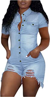 Jeans Femmes Overall Pantalon Jumpsuit Combishort gürtelband Blue Denim S M L XL XXL