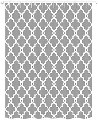 JAWO Geometric Pattern RV Shower Curtain White Plaid Print On Gray Fabric Shower Curtain for Camper Trailer Camping Bathroom 47 X 64 Inches