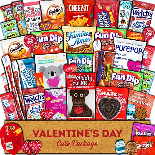 Valentine's Day Care Package (45ct) Snacks Chocolates Candy Gift Box Assortment Variety Bundle Crate Present for Boy Girl Friend Student College Child Husband Wife Boyfriend Girlfriend Love Niece Nephew