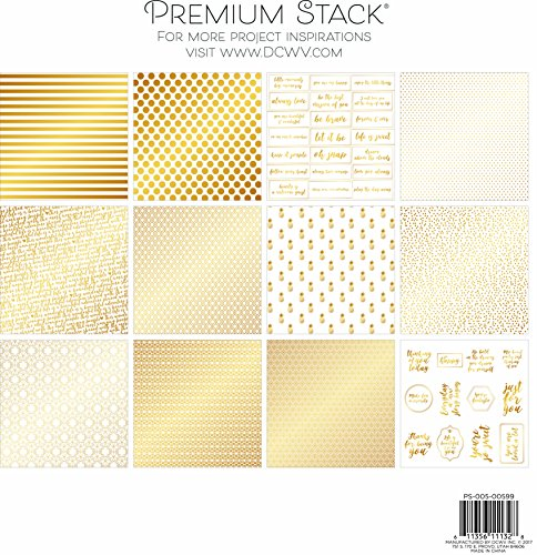 """DCWV Card Stock 12""""X12"""" Gold and White Premium Printed Cardstock Stack 