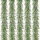 Plantas decorativas al aire libre 5 paquetes 30 pies artificiales eucaliptos guirnaldas falsas verdes viñas smoux colgantes plantas para la mesa de boda telón de fondo arco verde Jardín, balcón, etc.