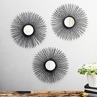 Flourish Concepts Metal Wall Mirror (37 x 37 x 2, Black)