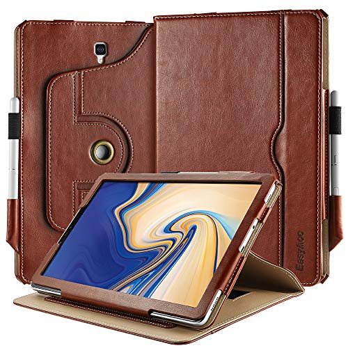 EasyAcc Case For Samsung Galaxy Tab S4 10.5 With Pen Holder, [360 Degree Rotating/ 100% PU Leather Made by Hand/No Plastic Content] and Document Card Slots, with Auto Wake/Sleep, Durable Case, Brown