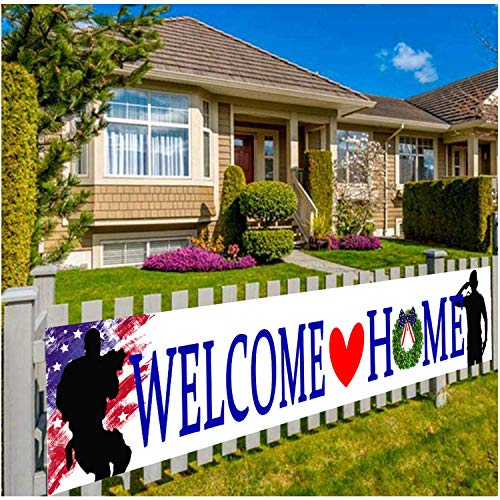 Welcome Home Banner Large Fabric America Flag Patriotic Soldier Backdrop Background,Patriotic Theme Deployment Returning Back Military Army Homecoming Party Decoration (1)