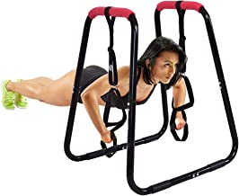GOPLUS Dip Bars Fitness Dip Station Heavy Duty Strength Power Training Stand W/Slings Loops for Home Gym Workout 2 Dip Bars