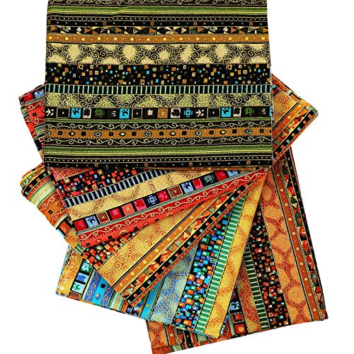 5 Piezas Telas de Patrón Étnico de Algodón Paquete de Tela de Acolchar Precortada para Costura Patchwork Protectores Faciales Manualidades, 19,5 x 15,7 Pulgadas