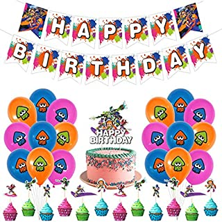 Splatoon Party Supplies Décorations de Fête d'anniversaire Splatoon Bannière de Joyeux Anniversaire,des Ballons et des Déc...