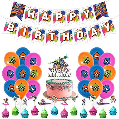 Splatoon Geburtstag Dekoration Set,Splatoon Party Supplies,Kompakt Happy Birthday Deko Spirale Partykette Luftballon Splatoon für Kinder Partydekorationen