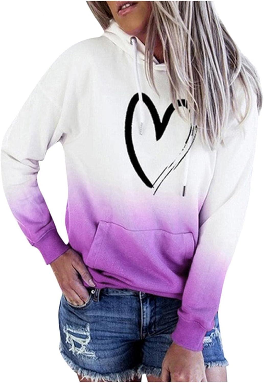 Qunkii Graphic Sweatshirts for Women Fall Hoodie Pullover Tops Cute Heartbeats Long Sleeve Shirts for Juniors Teen Girls