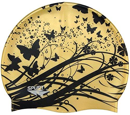 Moolecole nuoto in silicone morbido e impermeabile da donna estate piscina mare nuoto Balneazione cappello cura dei capelli per capelli lunghi, Gold Butterfly