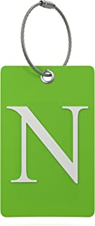 Luggage Tag Initial – Fully Bendable Tag w/Stainless Steel Loop (Letter N)