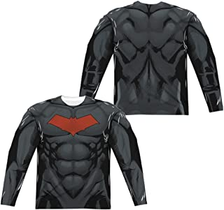 Batman Red Hood Style 2 (Front Back Print) L S Adult Poly Crew White White