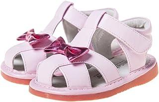 HLT Toddler//Little Kid Girl Wild Rose Flower Front Hook/&Loop Strap Squeaky Sandal