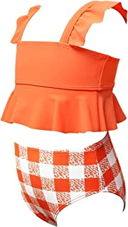 Maydear Swimsuits for Girls Swimwear for Girls Bathing Suits for Toddler - Orange