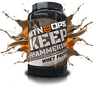 MTN OPS Cameron Hanes Keep Hammering Whey Protein Powder, Chocolate Caramel Flavor, 30 Servings