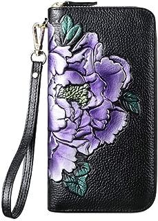 Wallets Leather Women Wallets Flower Leather Clip Wallet Lady Long Cute Wallet Zipper Portefeuille Female Purse Clutch Cartera Mujer (Color : Purple, Size : 19 * 10 * 2.5CM)