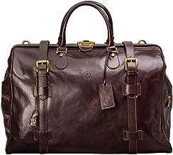 Maxwell Scott Leather Large Gladstone Travel Bag - GassanoL Brown