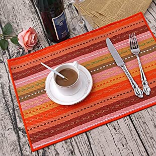 """Customer reviews Set of 4 100% Handmade Woven Braided Ribbed Cotton Table Placemats Rainbow Red 12"""" x 18"""" Table Pads Kitchen Accessories"""