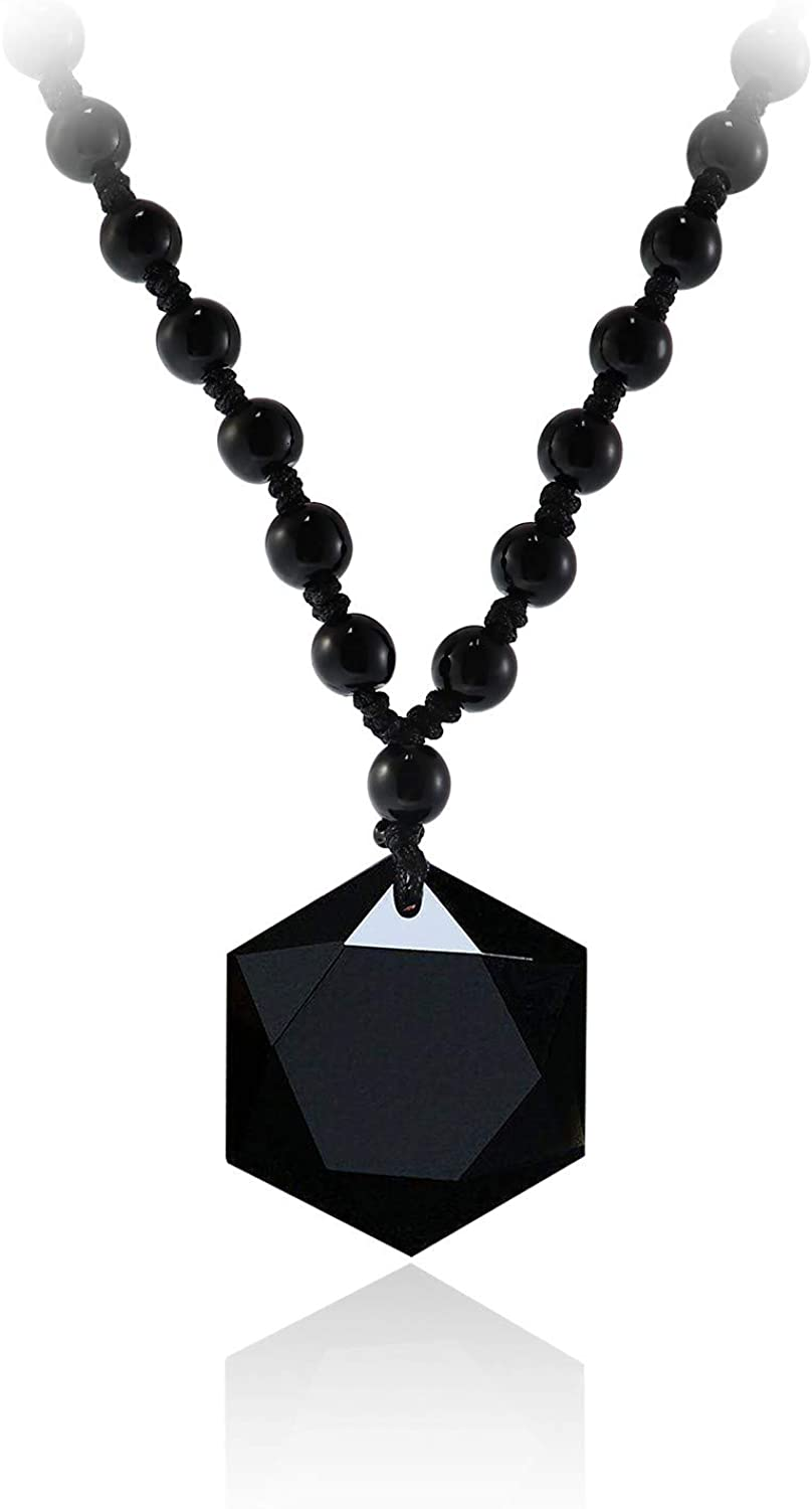 Caiyao Lucky Black Obsidian Hexagram Pendant Necklace Adjustable Rope Energy Healing Natural Stone Necklace for Men Boy Teens Lover Amulet Protection Valentine's Day Jewelry Gift
