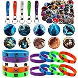 75 Pcs Birthday Party Favor Supplies, Including 10 Bracelets, 10 Button Pins, 5 Key chains, 50 Stickers