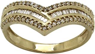 0.40 Ct Round & Baguette Cut Natural Diamond 14K Yellow Gold V-Shape Band Ring
