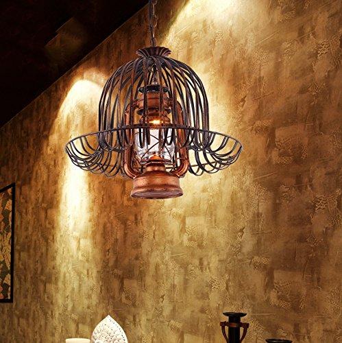 HHCH Lámpara colgante Luz colgante de techo retro, fuente de luz única E27 Lámpara de metal lámpara de aceitera retro Lámpara colgante para sala de estar candelabro