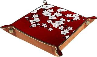 FCZ Plateau de rangement en cuir rouge noir et blanc avec cerisier en fleur de cerisier - Boîte de rangement pour bijoux, ...