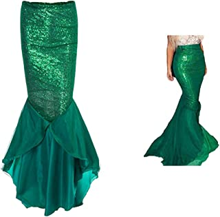 Women's Mermaid Costume Lingerie Halloween Cosplay Fancy Sequins Long Tail Dress with Asymmetric Mesh Panel