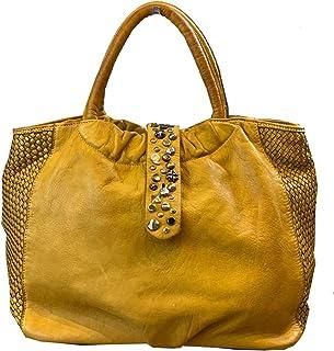 BZNA Bag Livia gelb vintage Italy Designer Business Damen Handtasche Ledertasche Schultertasche Tasche Leder Shopper Neu