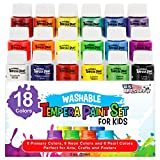 U.S. Art Supply 18 Color Children's Washable Tempera Paint Set - 2 Ounce Wide Mouth Bottles for Arts, Crafts...