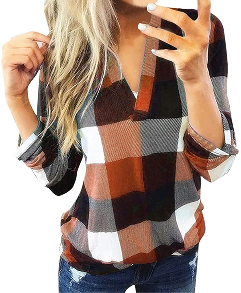 VEKDONE Wmens Long Sleeve Plaid Shirt Plus Size Henley V-Neck Loose Pockets Casual Tunic Tops S-5XL