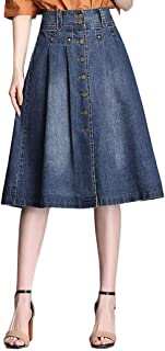 Button Front Denim Skirts for Women Knee Length A-Line Pleated Wrap Midi Blue Jean Skirt