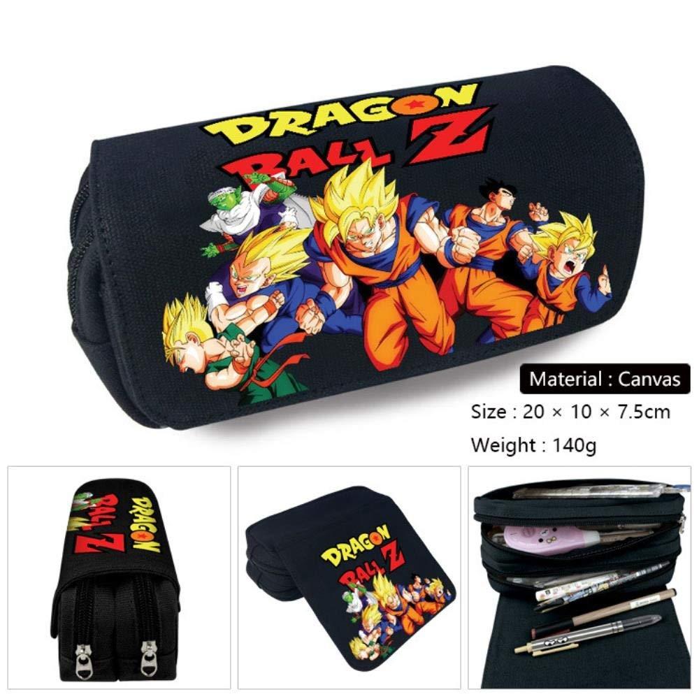 Jjzz Anime lienzo de doble capa con cremallera estuche de lápices tortuga mundo rey dragon ball otoño lienzo estuche de lápices dragon ball-3: Amazon.es: Oficina y papelería
