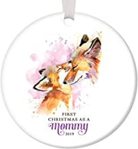 First Christmas as a Mommy Ornament 2019 Adorable New Mother 1st Holiday Ceramic Keepsake Newborn Son Daughter Infant Boy Girl Mom & Baby Fox 3