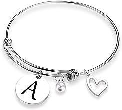 EIGSO Initial Bracelet Letter Bracelet with Heart Charm Memory Bracelet Jewelry Gift for her … …
