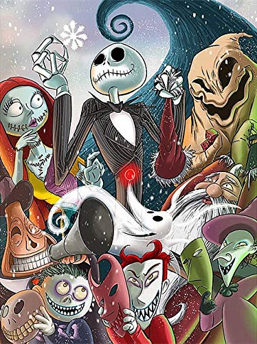 DIY 5D Full Drill The Nightmare Before Christmas Square Diamond Painting by Number Kits for Adults and Children Crystal Rhinestone Cross Stitch Halloween Gift for Wall Decoration (30x40cm/12x16in)
