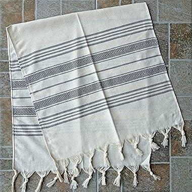 Dandelion - Ivory Basic Pattern - Set of 2 Naturally-Dyed Cotton Turkish Hand Towels Peshkir - 38x19 Inches - Gray