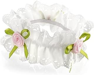 Ivory Ribbon Pink Rosebud Flower Hair Bun Garland Scrunchie Elastic by Pritties Accessories